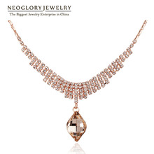 Neoglory Austrian Rhinestone Rose Gold Color Chokers Necklaces & Pendants 2017 New Gift Teen Girl Elegant Charm Fashion Jewelry(China)