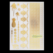 1pc New Gold Sexy Body Art  Nontoxic Tattoo Henna GYH-030 Pineapplen Tree Flower Stlye Bracelet Design Temporary Tattoo Stickers