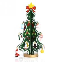 3D Wooden Christmas Tree Party Hanging Christmas Tree Pendants for Christmas Decoration Garland Party Hanging Decor(China)