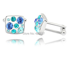 Free Shipping 925 Sterling Silver Swa Elemant Austria Crystal Stones Father Day Men Cufflinks for Gifts(China)