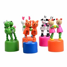 1PCS Baby Funny Wooden Toys Wooden Puppet Toy Developmental Dancing Standing Rocking Animals Toys