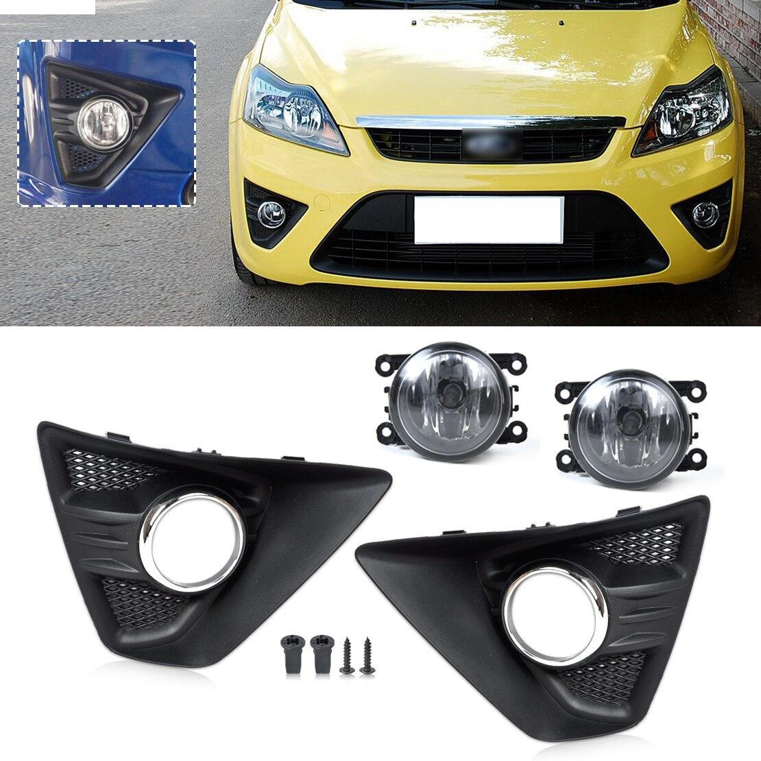 beler 2 Pcs Front Left/Right Fog Light Lamp+ 2 Pcs Cover Grille Grill Kit for Ford Focus Hatchback 2009 2010 2011 2012 2013 2014<br>