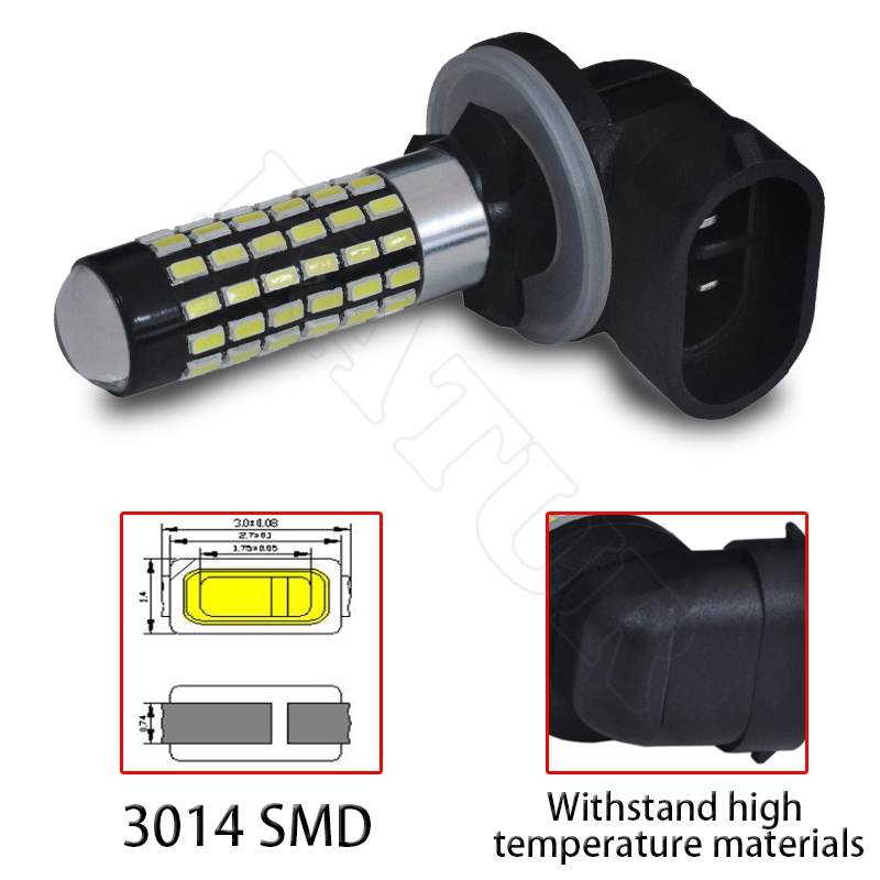 2 Pieces H27 881 Led Bulb For Cars H27W/2 H27W2 Auto Fog Light DRL 780Lm 12V 881 LED Bulbs Driving Daytime Running Light