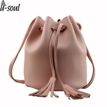 small new bucket bag women leather shoulder bag candy color mini handbags tassel bags crossbody bags handbags A1175(China)