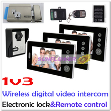 1v3 New wireless digital color video door phone intercom systems+ remote control+batteries+Electromagnetic lock/electronic lock