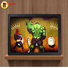AtFipan Canvas painting On The Wall Toilet Hulk Thor Joker Spider Man Funny Wall Pictures Print Home decor Unframed Art Posters