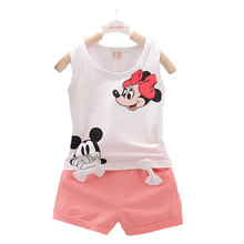 Summer Baby Girls Clothes Set Mickey Minnie Mouse Vest Shorts InfantsToddlers Girl Kids Cotton Suit Candy Colors 0-4 Years
