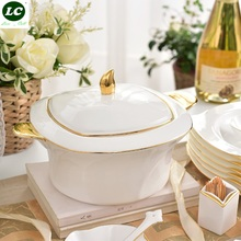 Dinnerware Set 48pcs ceram White&golden Porcelain with Soup bowls / Plates /dishes Bone China tableware set