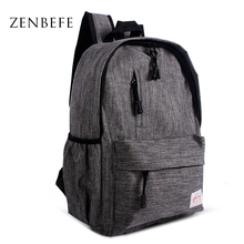 ZENBEFE Linen Small Backpack Unisex School Bags For Teenage School Backpack For Students Backpacks Rucksack Bookbags Travel Bag(China)