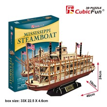 Candice guo CubicFun 3D paper puzzle building model toy Mississippi steamboat boat ship baby birthday gift christmas present 1pc(China)