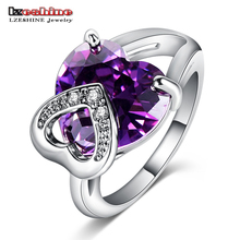 LZESHINE Engagement Finger Ring Women Jewelry  Silver Color Double Heart  Purple Color Zirconia Cocktail Rings CRI0057-B