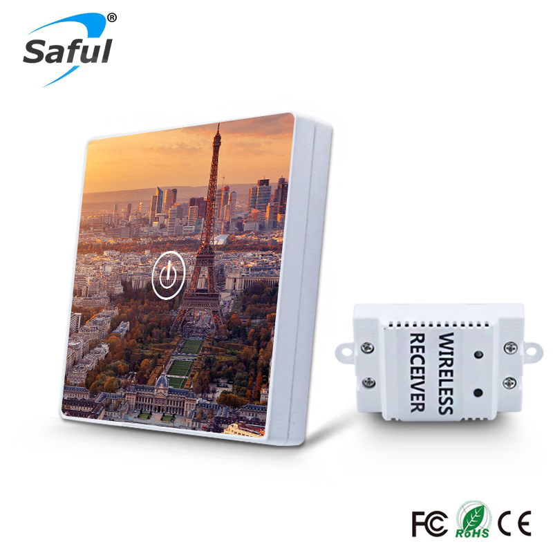 Eiffel Tower Design DIY Picture Wireless Crystal Glass Switch Remote Contral 1 Gang 1 Way Wireless Touch Switch For Smart Home<br>