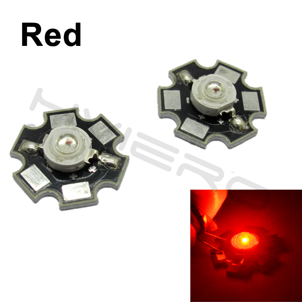 Hviero 3W High Power Chip white Red Blue Green light bead emitter LED Bulb Diodes Lamp Beads with 20mm Star PCB Platine Heatsink