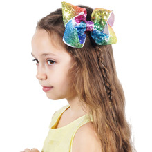 5 Inch Colorful Rainbow Hair Clip for Girls Sequin Hair Bow with Clip Hairgrips For Kids Dance Party Hair Accessories(China)