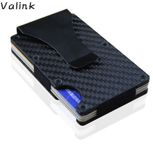 Valink 2018 New Fashion Slim Carbon Fiber Credit Card Holder RFID Non-scan Metal Wallet Purse Male Carteira Masculina Billetera(China)