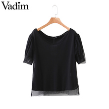 Women V neck black mesh shirts with lining short sleeve loose blouse ladies fashion streetwear casual tops blusas DT930
