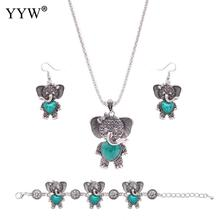 Fashion Turquoise Jewelry Sets For Women Red Turquoise Sets Lovely Elephant Necklace Bracelet & Earrings Women's Jewelry Gift