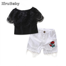 Xirubaby Girls Clothing Sets Summer Kids Girls Clothes Black Lace Design Toddler Girl Blouse+White Shorts Suit Children Clothing
