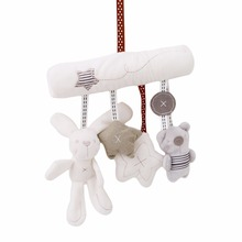 Rabbit Baby Rattle Toy Hanging Bed Safety Seat Plush Hand Bell Multifunctional Plush Kid Toys Stroller Musical Mobile Gifts