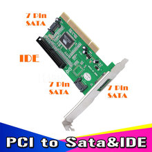 1pcs High Quality New 3 ports SATA + IDE Serial HDD ATA PCI Card Converter Adapter for PC Tablet Computer 1.5Gb/s Data Rate