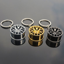 New Design Cool Luxury metal Keychain Car Key Ring Creative Wheel Hub Key Chain For Man Women Gift C471