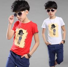 summer 2017 new boys cotton short sleeve T-shirt + Pants leisure sport suit children clothing white red navy blue 6-10 year old