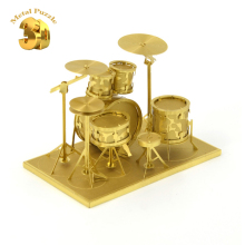 3D Miniature Musical Instruments Model Jigsaws DIY New Year Gift Building Model  Educational Toy for Kids Rack Drum Gold