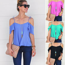 New Fashion Women's Blouses Chiffon Short Sleeve Ladies Shirts Loose Short Casual Summer Solid Clothing(China)