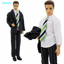 3in1 Handmade Streak Formal Outfit Fashion Bussines Suit Black Coat White Shirt Tie Pants For Barbie Boyfriend Ken Doll Clothes