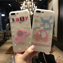 Cute Cartoon Animal Elephant Case For iphone 7 7plus Phone Cases For iphone 6 6S Plus Frosted Soft Silicone Back Cover Coque
