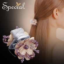 Special Romantic Flower Hair Pins Clips Crystal Hair Claws Hair Accessories Gold Hair Jewelry Gifts for Women S1767H(China)