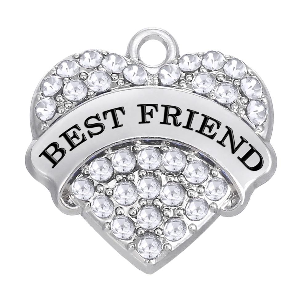 Lot) Zinc Alloy Rhodium Plated Best Friend Forever Charm  Bracelet Jewelry