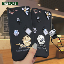 YESPURE Black 3D Cartoon Phone Coque Covers for Iphone 6 6s 7 7plus Cellphone Fille Cute Fancy Telephone Cases Lady(China)