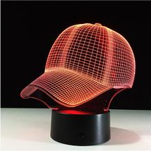 NEW MLB Baseball Team Cap LED 3D Illusion Night Light 7 Colors USB5V/Battery Visual American Baseball Hat Decor Bulb Visual Lamp(China)