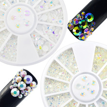 2pcs Mixed Sizes White+Clear 3D Rhinestones Nail Art Glitter Crystal Designs Nail Wheel Charm Decorations DIY Accessory TR205