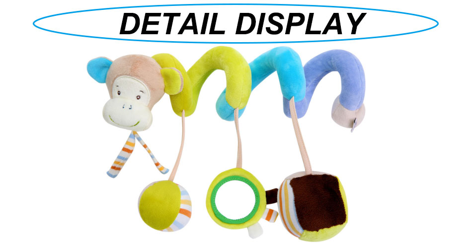 Infant baby toy activity spiral bed stroller bumper with BB device hanging crib rattle kids toys newborn juguete bebe animales 5