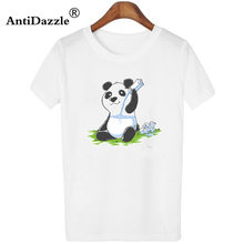 Antidazzle 2017 Fashion Casual Women O-neck T shirt Panda in My FILLings Milk Cute Animal Design Tees Tops Cartoon Round Neck(China)