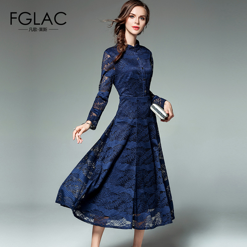 FGLAC women dress New Arrivals 2017 Autumn long sleeved Lace dress Elegant Slim Vintage Party dress Europe brand women clothing