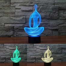 Factory Lamp 3D Yoga Meditation Nightlight Colorful Changeable Lights Creative Illusion USB Led Table Desk Lampara Atmosphere