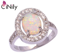 CiNily Created White Fire Opal Cubic Zirconia Silver Plated Ring Wholesale Retail Hot for Women Jewelry Ring Size 5-12 OJ4835
