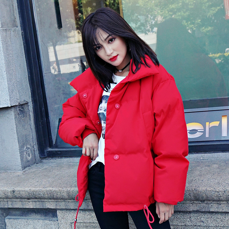 Korean Style 19 Winter Jacket Women Stand Collar Solid Black White Female Down Coat Loose Oversized Womens Short Parka 19