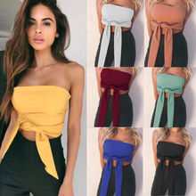 Fashion Women Solid Bandeau Seamless Bra Tube Tank Top Blouses Strapless Stretch Hot Ladies Womens Casual Blouse Clothing