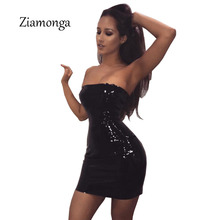 Ziamonga 2017 New Bodycon Dress Women Sexy Strapless PU Leather Dress Women Club Wear Lace Up Clubwear Ladies Vestido De Festa(China)