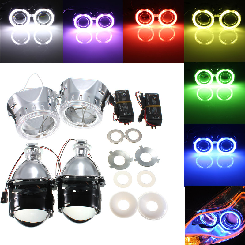 2.5 Inch Bi-Xenon Hi/Lo for HID Projector Car Headlight Conversion Kit Lens Halo Angel Eye CCFL 9-16V Car Styling<br>