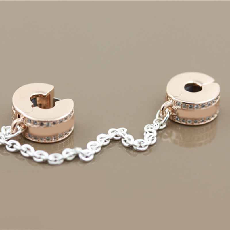 New 100% 925 Sterling Silver Pave Inspiration Safety Chain, Clear CZ Stopper Charms Fit Pandora Bracelet Fashion Jewelry Making (1)