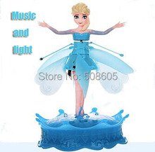 Remote control aircraft induction levitation vehicle snow flying fairy Bobbi doll children toy helicopter