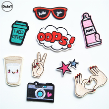 9 PCS/LOT OPPS Parches Embroidery Iron on Patches for Clothing DIY Stripes Clothes Finger Stickers Camera Appliques @R0(China)