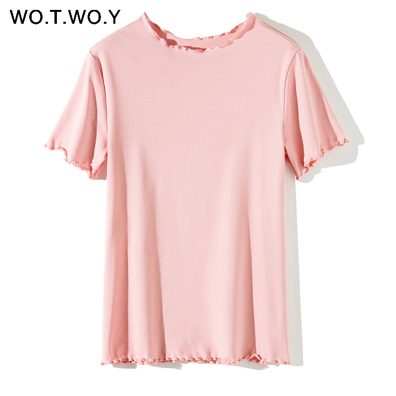 Ruffles Summer T Shirt Women Cotton Casual Solid T-Shirt Women Korean Tops Tee Shirt Femme Slim Black Tshirt Harajuku New