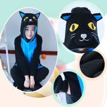 Cheap Fleece Premium Quality Blue Midnight Cat Footie Onesies For Adults Animal Halloween Christmas Pajamas Cosplay Costume DHL(China)