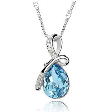 SHUANGR Fashion 10 Colors Austrian Crystal Water Drop Pendants&Necklaces Chain Necklace Fashion Jewelry For Women
